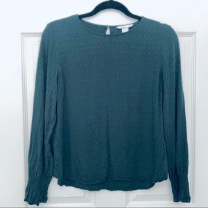 H&M Dark Green Long sleeved Blouse size 6